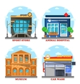 Car wash and veterinary shop sportswear store vector image vector image