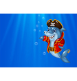 Cartoon shark pirate swimming in the ocean vector image