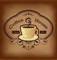 Coffee with label over vintage background vector image vector image