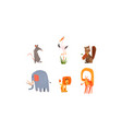 collection funny forest and african animals vector image vector image