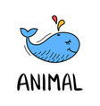 colorful doodle whale in trendy style little vector image
