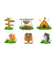 cute woodland animals and camping elements set vector image vector image