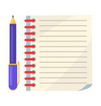 diary with spiral or page copybook and ink pen vector image vector image