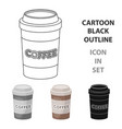 disposable coffee cup icon in cartoon style vector image vector image