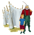 Father and son with fishing tackle vector image vector image