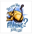 Fisherman - skull and hook Do you like fishing vector image