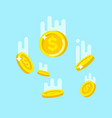 flying down golden coins vector image