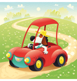 Funny dog on a car vector image vector image