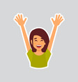girl cheerful raised hands sticker for messenger vector image vector image