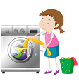 Girl doing laundry with washing machine vector image vector image