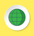globe icon in flat style on round button vector image