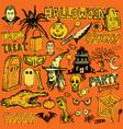 halloween hand drawn doodle elements vector image vector image