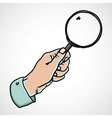 Hand holding magnifying glass vector image