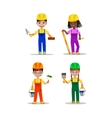 Kids builders characters vector image vector image