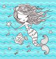 marine little cute cartoon mermaid vector image vector image