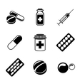 Medicine drugs monochrome icons set with - pills vector image vector image
