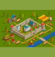medieval castle isometric composition vector image vector image