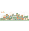 naples italy city skyline with color buildings vector image vector image