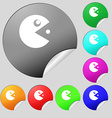 Pac man icon sign Set of eight multi colored round vector image