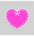 pink paper cut heart sticker with white lacing vector image