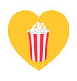 popcorn icon heart shape red yellow strip paper vector image vector image