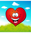 red heart cartoon on green grass vector image