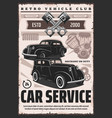 retro cars and vehicles repair service vector image