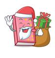santa with gift diary mascot cartoon style vector image vector image