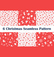 set christmas seamless patterns on red vector image