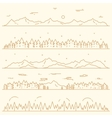 Set horizontal mountains fir forest linear style vector image vector image