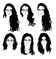 set of hairstyles for women with glasses vector image vector image