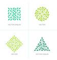 set of organic and natural logo design templates vector image vector image