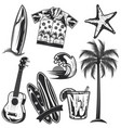 set surfing elements vector image vector image