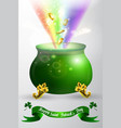 st patricks day green pot with rainbow vector image