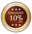 Ten Percent Discount Gold Medal vector image vector image