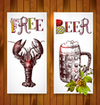 vertical banners Beer and crawfish vector image