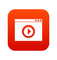 video player icon digital red vector image