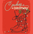 western red christmas card with cowboy boot vector image vector image