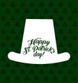 white hat silhouette st patricks day clovers vector image