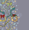 Beautiful background with snakes and snowflakes vector image
