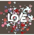 Love white Word with flowers hearts and birds vector image