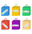 sale shopping bag set in six different colors set vector image
