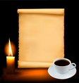 background with cup of coffee vector image vector image