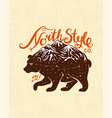 brown bear and mountains logo camping label vector image