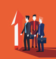 businessmen teamwork financial arrow up point vector image