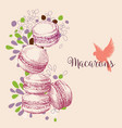 cake shop leaflet party invitation macarons vector image vector image