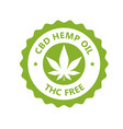 cbd hamp oil label thc free icon marijuana oil vector image vector image