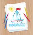 child drawing of ship and see waves vector image