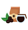 coffee bag with grains and leafs plant vector image