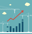 construction cranes are building a chart vector image